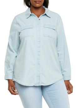 Plus Size Denim Shirt with Pleated Pockets - 3876051068678