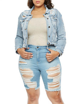 Plus Size Destroyed Denim Jacket - 3876058934040