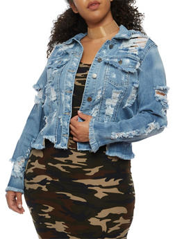 Plus Size Cello Destroyed Denim Jacket - 3876063151045