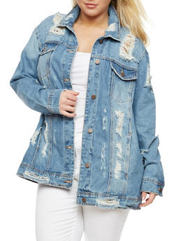 Plus Size Cello Destroyed Denim Jacket - 3876063151078