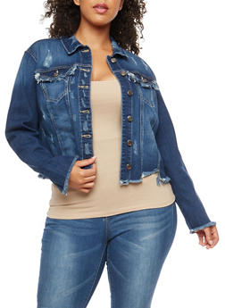 Plus Size Cello Frayed Cropped Denim Jacket - 3876063152045