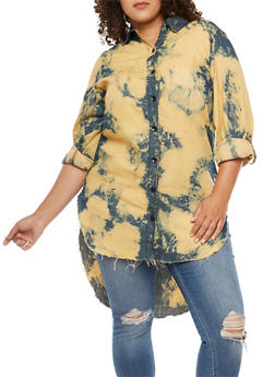 Plus Size Bleach Wash High Low Denim Top - 3876063403998
