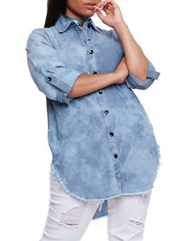 Plus Size Button Front Denim Tunic Shirt - 3876063403999