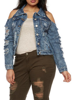 Plus Size Cold Shoulder Destroyed Denim Jacket - 3876063404960