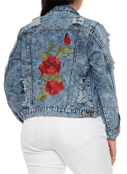 Plus Size Ripped Denim Jacket with Rose Applique - 3876063405122