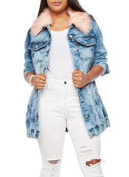 Plus Size Long Denim Jacket with Faux Fur Collar - PEACH - 3876063405149