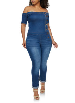 Plus Size VIP Off the Shoulder Denim Jumpsuit - 3876065302955