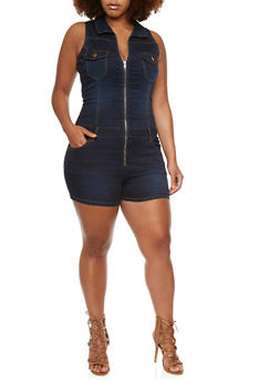 Plus Size VIP Romper in Dark Wash Stretch Denim - 3876065309665