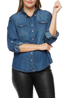 Plus Size Highway Jeans Button Up Top - 3876071310089