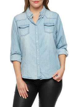 Plus Size Highway Jeans Denim Button Up Top - 3876071310189