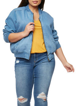 Plus Size Highway Jeans Denim Bomber Jacket - MEDIUM WASH - 3876071310856