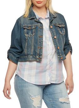 Plus Size Denim Jacket - 3876071317786