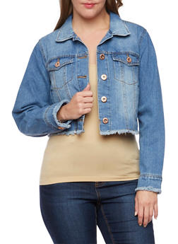 Plus Size Highway Jeans Cropped Denim Jacket - 3876071317926