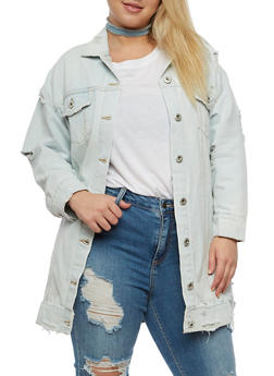 Plus Size Highway Jean Long Denim Jacket - 3876071317941