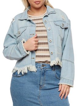 Plus Size Highway Jeans Frayed Denim Jacket - 3876071317985