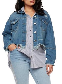Plus Size Highway Jeans Frayed Denim Jacket - MEDIUM WASH - 3876071317985