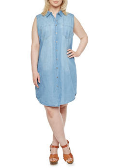 Plus Size WAX Jeans Sleeveless Shirt Dress in Denim - 3876071610035