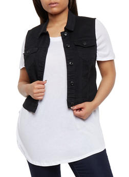 Plus Size Wax Button Front Vest - BLACK - 3876071613001