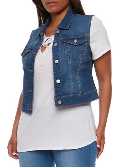 Plus Size Wax Button Front Vest - MEDIUM WASH - 3876071613001