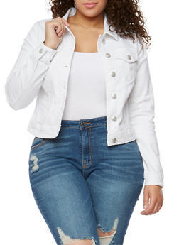 Plus Size WAX Button Front Denim Jacket - WHITE - 3876071619002