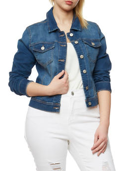 Plus Size WAX Button Front Denim Jacket - 3876071619002