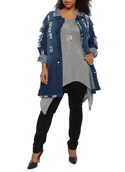 Plus Size Oversized Destroyed Denim Jacket - 3876072290010