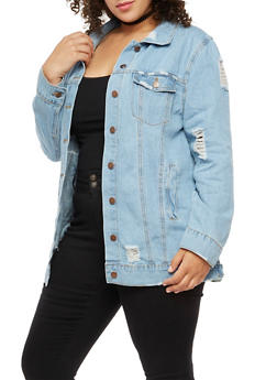 Plus Size Distressed Long Denim Jacket - 3876072290707