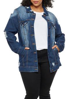 Plus Size Distressed Long Denim Jacket - 3876072290707