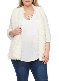 Plus Size Vest in Faux Fur - 3884038347002