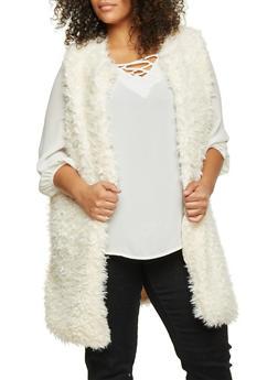Plus Size Vest in Faux Fur - NATURAL - 3884038347003