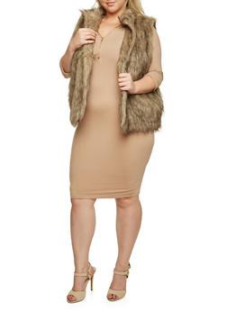 Plus Size Faux Fur Vest - 3884038347004