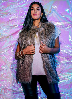 Plus Size Faux Fur Vest - BROWN - 3884038347005