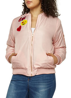 Plus Size Emoji Patched Bomber Jacket - 3884038347037
