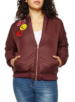 Plus Size Emoji Patched Bomber Jacket - 3884038347037
