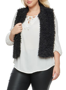 Plus Size Cropped Faux Fur Vest - BLACK - 3884038348080