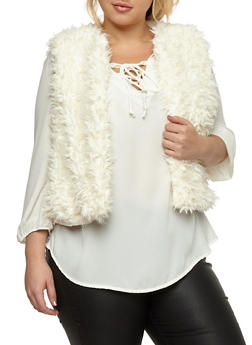 Plus Size Cropped Faux Fur Vest - IVORY - 3884038348080