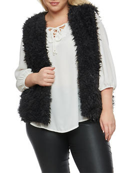 Plus Size Faux Fur Vest - BLACK - 3884038348081