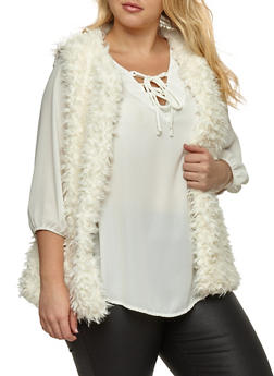 Plus Size Faux Fur Vest - IVORY - 3884038348081