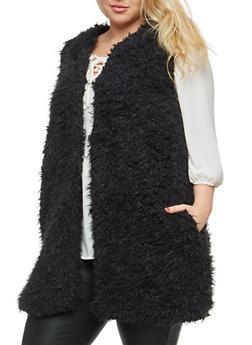 Plus Size Long Faux Fur Vest - 3884038348082