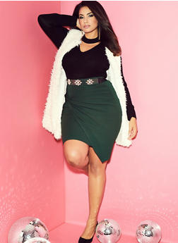 Plus Size Long Faux Fur Vest - 3884038348082