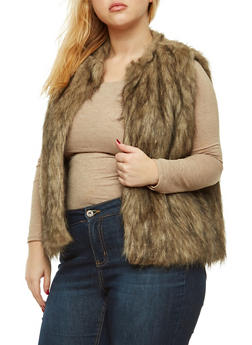 Plus Size Brown Faux Fur Vest - 3884038348083