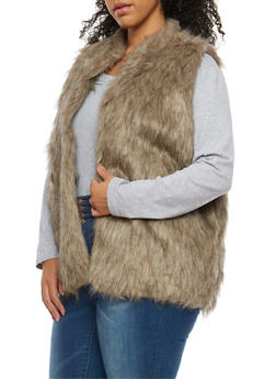 Plus Size Long Faux Fur Vest - 3884038348084