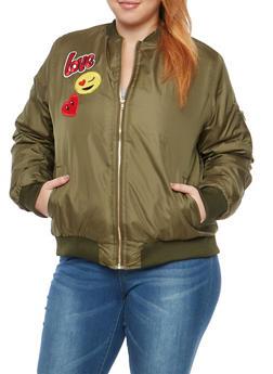 Plus Size Emoji Patched Bomber Jacket - DUSTY CACTUS - 3884038348085
