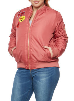 Plus Size Emoji Patched Bomber Jacket - 3884038348085