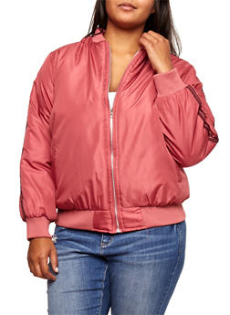 Plus Size Varsity Striped Bomber Jacket - 3884038348086