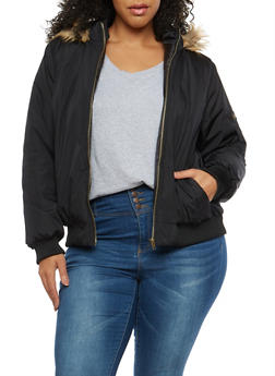 Plus Size Faux Fur Hooded Bomber Jacket - 3884038348088