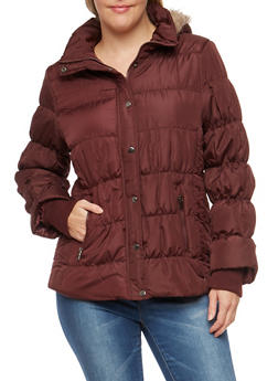 Plus Size Puffer Jacket with Faux Fur Lined Hood - BURGUNDY - 3884051060404