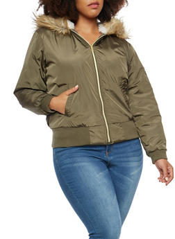 Plus Size Faux Fur Lined Hooded Bomber Jacket - HUNTER - 3884051060600