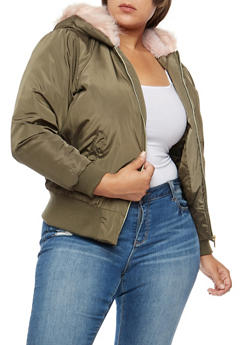 Plus Size Faux Fur Lined Hooded Bomber Jacket - OLIVE - 3884051060600