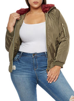 Plus Size Faux Fur Lined Hooded Bomber Jacket - BURGUNDY - 3884051060600